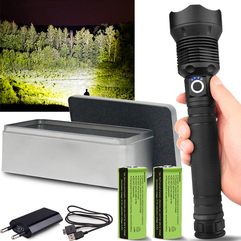 Led Flashlight Tactical Torch Rechargeable-Battery 120000 Most-Powerful Usb-Zoom Xhp50