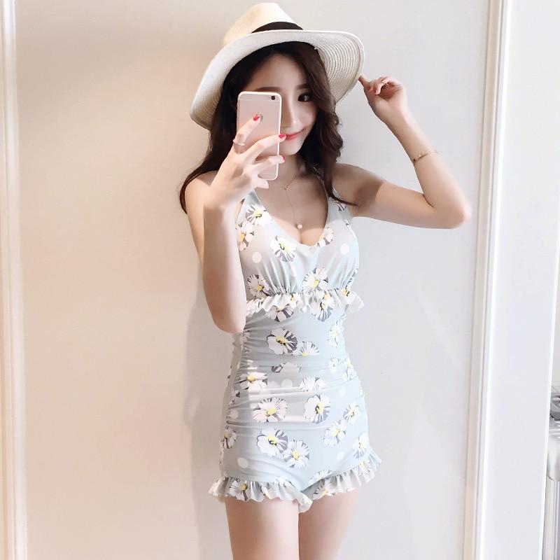 6a54ebdb50fd 2018 New Hot Signore Si Riuniscono Sexy Costume Intero Costume Da Bagno  Bikini Costume Da Bagno Floreale di Alta Qualità di Studenti Coreani