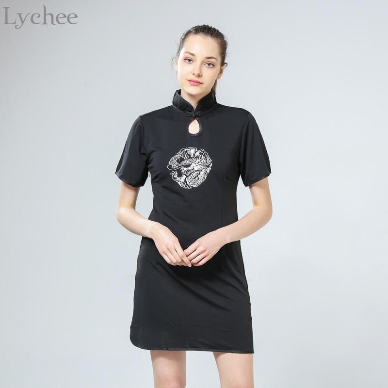 Lychee Harajuku Vintage Summer Women Dress Dragon Embroidery Cheongsam Short Sleeve Stand Collar Punk Dress