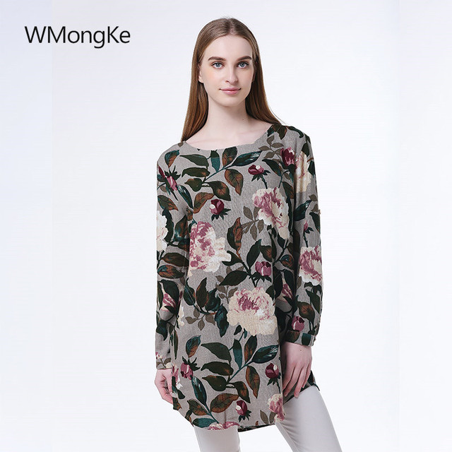 7a567e6f3 WMongKe Floral Printed Ladies Shirt O-Neck Cotton & Linen Women Blouse  Vintage Long Sleeve Women Tops Girl Shirt