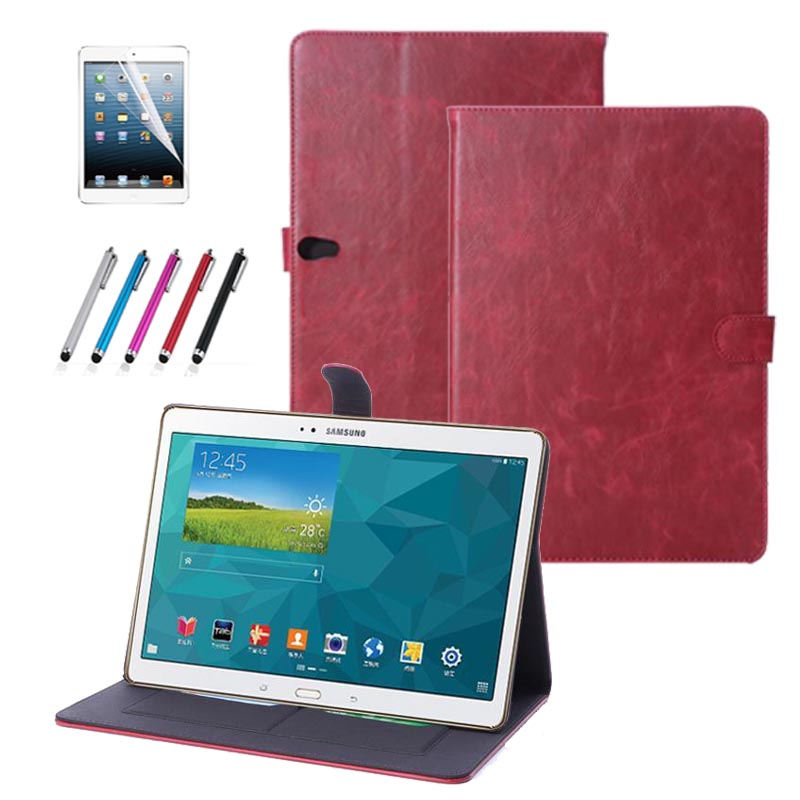 Luxury pu Leather stand Smart Cover Flip Book Case for Samsung Galaxy Tab S 10.5 (SM-T800 SM-T805) T805C+Protective film +stylus luxury folding flip smart pu leather case book cover for samsung galaxy tab s 8 4 t700 t705 sleep wake function screen film pen