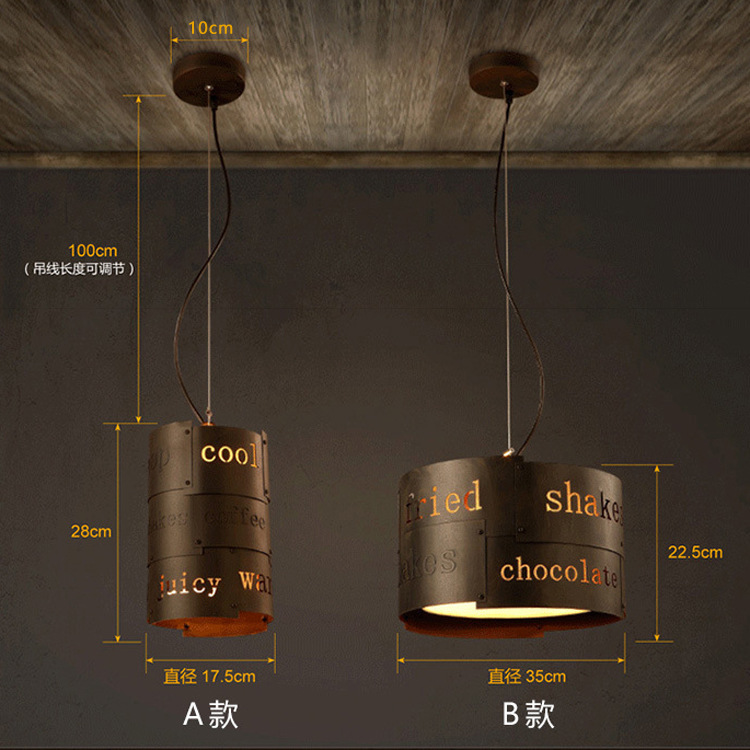 A1 Personality retro Vintage Loft American industrial wind bar restaurant English letter Bar Cafe Nordic Iron Pendant Lights nordic retro cafe bar iron pendant lights marble loft industrial wind bar cafe restaurant pendant lamps lu729326