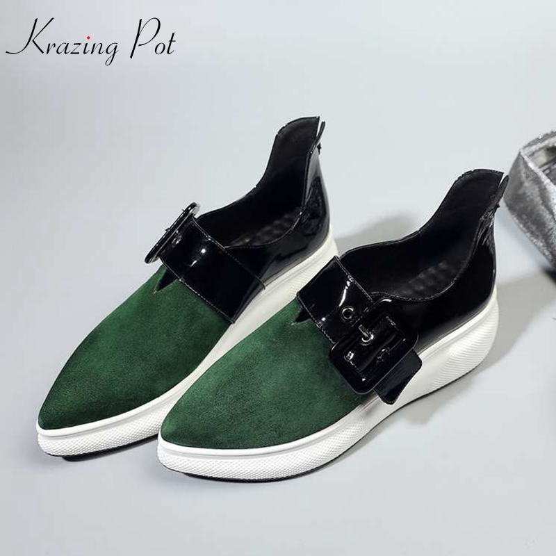 Krazing Pot kid suede cow leather metal buckle flat platform pointed toe sneakers for women vintage cozy vulcanized shoes L3f6 цена 2017