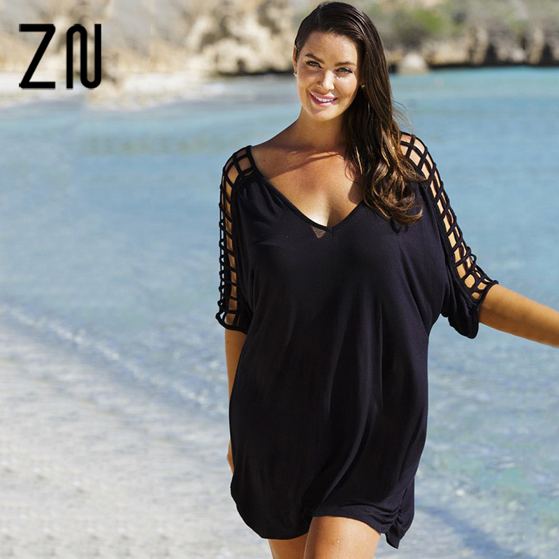 Top 2017 Mode vrouwen Casual V hals Uitsparing Mouw Losse Strand Zwart #RH49