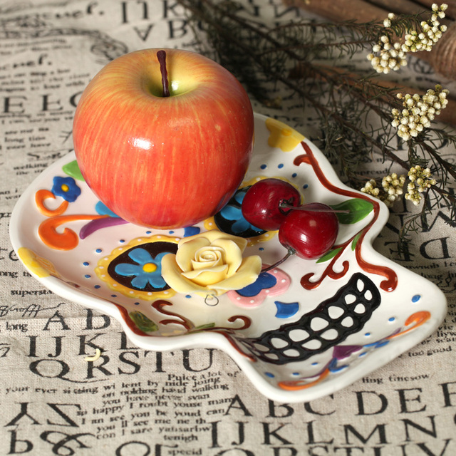 Skull hand painting plate ceramic dish fruit plate salad plate wall decoraton home deco Halloween deco & Skull hand painting plate ceramic dish fruit plate salad plate wall ...