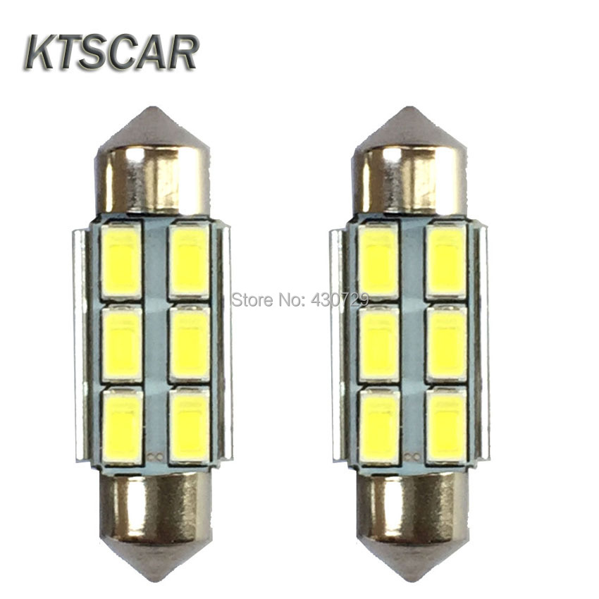 2pcs/lot Festoon CANBUS 31mm 36mm 39mm 42mm C5W ERROR FREE 5630 5730 6 LED smd interior WHITE LED SMD bulbs t10 3w 144lm 6 x smd 5630 led error free canbus white light car lamp dc 12v 2 pcs