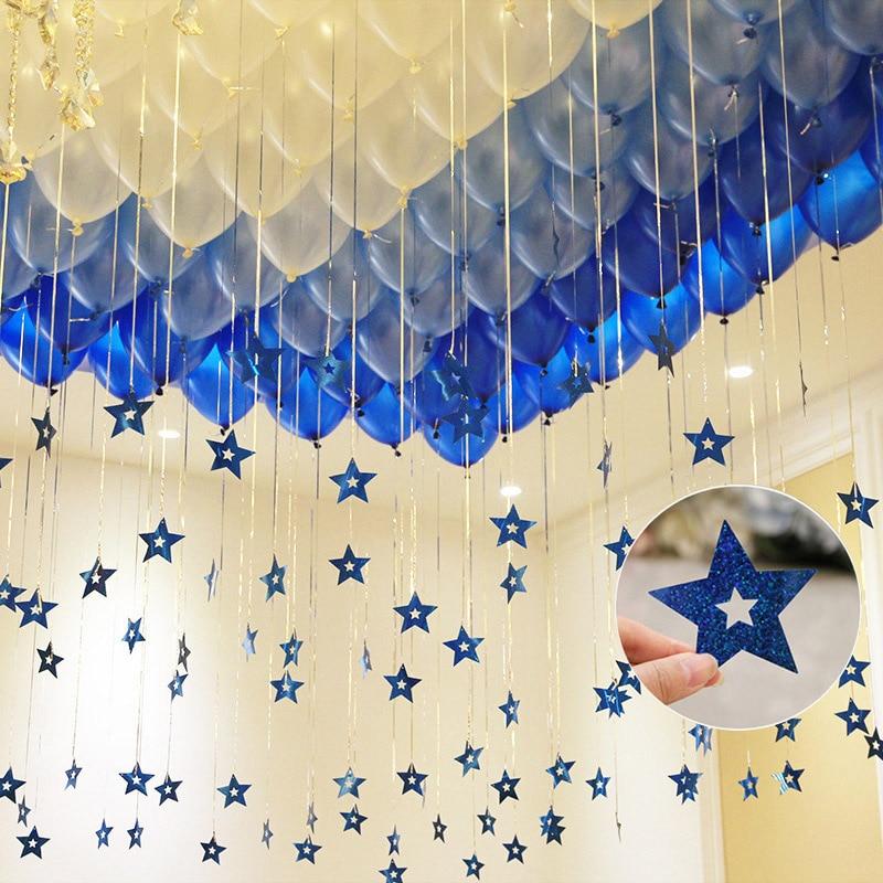 100 Pz/lotto Glitter Star Laser Carta Pendente Di Cerimonia Nuziale, Camera Matrimoniale Palloncino Accessori Della Decorazione Con Nastro Pioggia Pendente