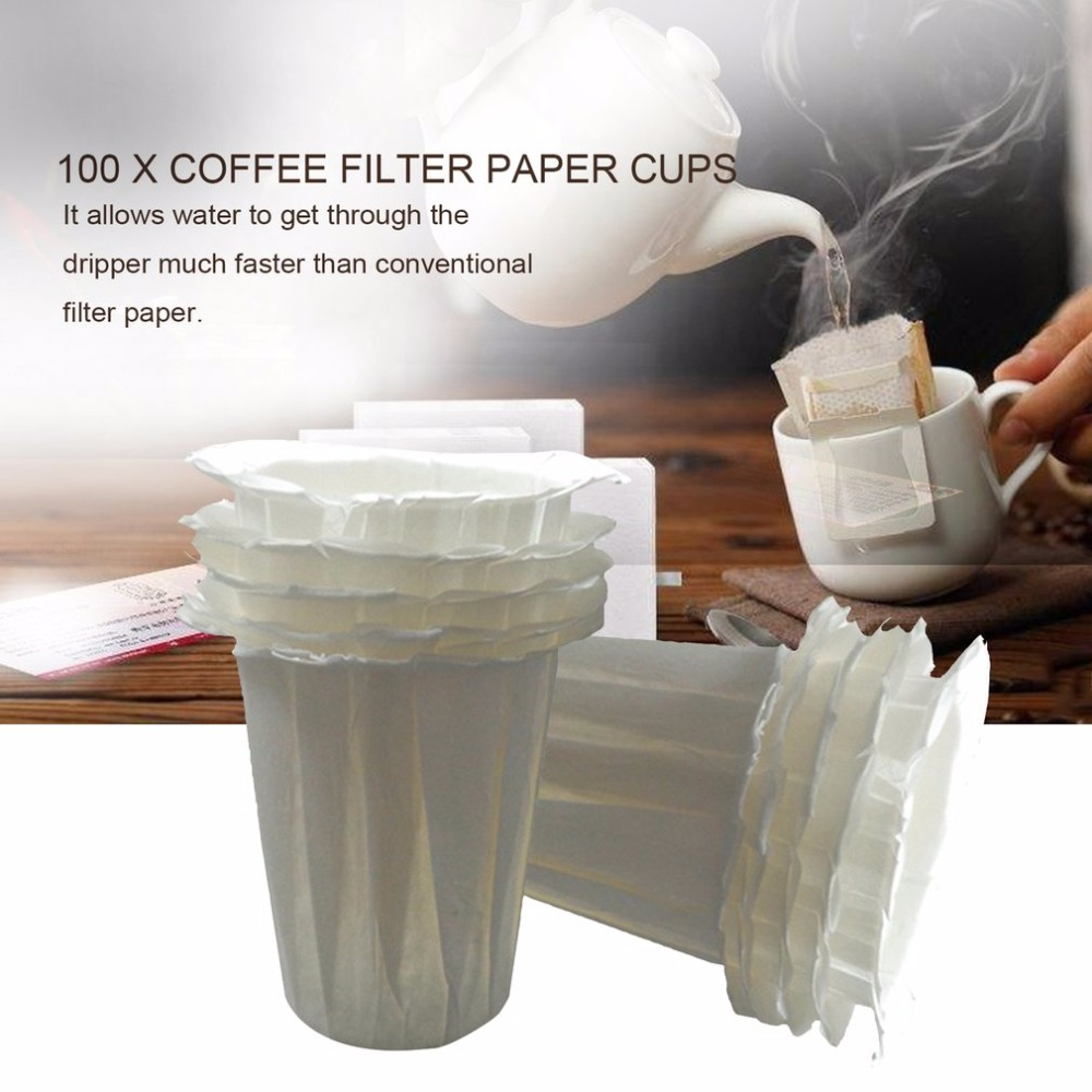 100pcs/Set White Coffee Filters Single Serving Paper Cup For Coffee Machine White Filter Paper Cake Cup Coffee Paper Bowl esspero i nova white coffee