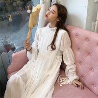 Japanese Summer Women Ruffle Fairy Dresses Korean Vintage Elegant Bottoming Dress Mori Girl Lolita Long Sleeve Lace White dress