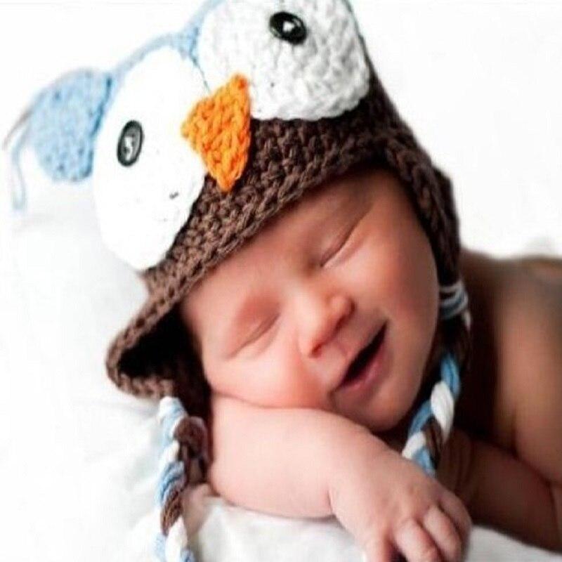Owl Knitted newborn hats handmade animal ear protect baby caps