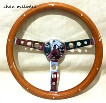 Real rivets inlaid high mirror chromed spoke 15inch 38cm universal vintage classic wood bus car steering wheel, handmade