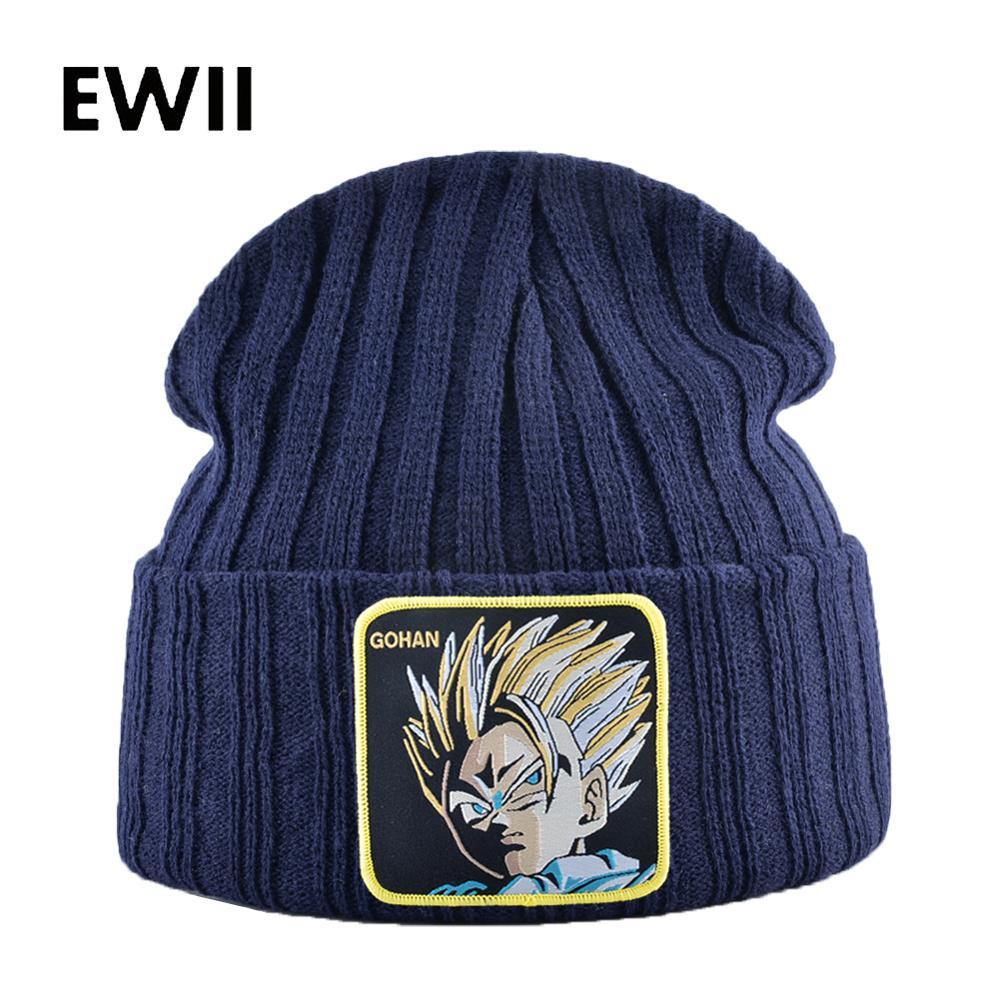 Men Skullies Beanies Winter Hats For Men Casual Knitted Caps Women Autumn Cap Beanie Dragon Ball Embroidery Hat Bonnet Gorro