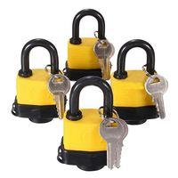 SHGO HOT 4pcs 40mm Waterproof Keyed Alike Lock Laminated Padlock Pad Same Key Gate Door