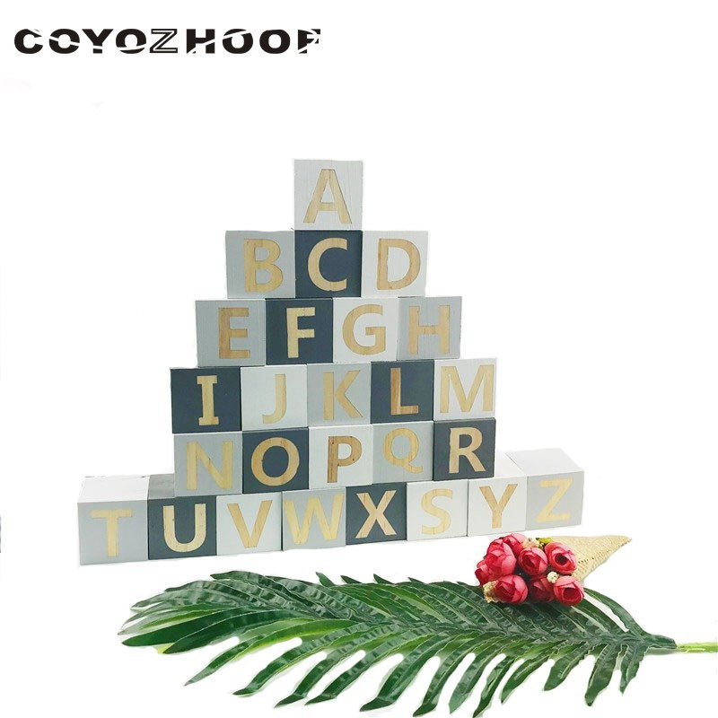 Natural Wood Alphabet Number Blocks Set Kids Wooden Letter Building Blocks Craft Early Learning Educational Toys Baby Room Decor