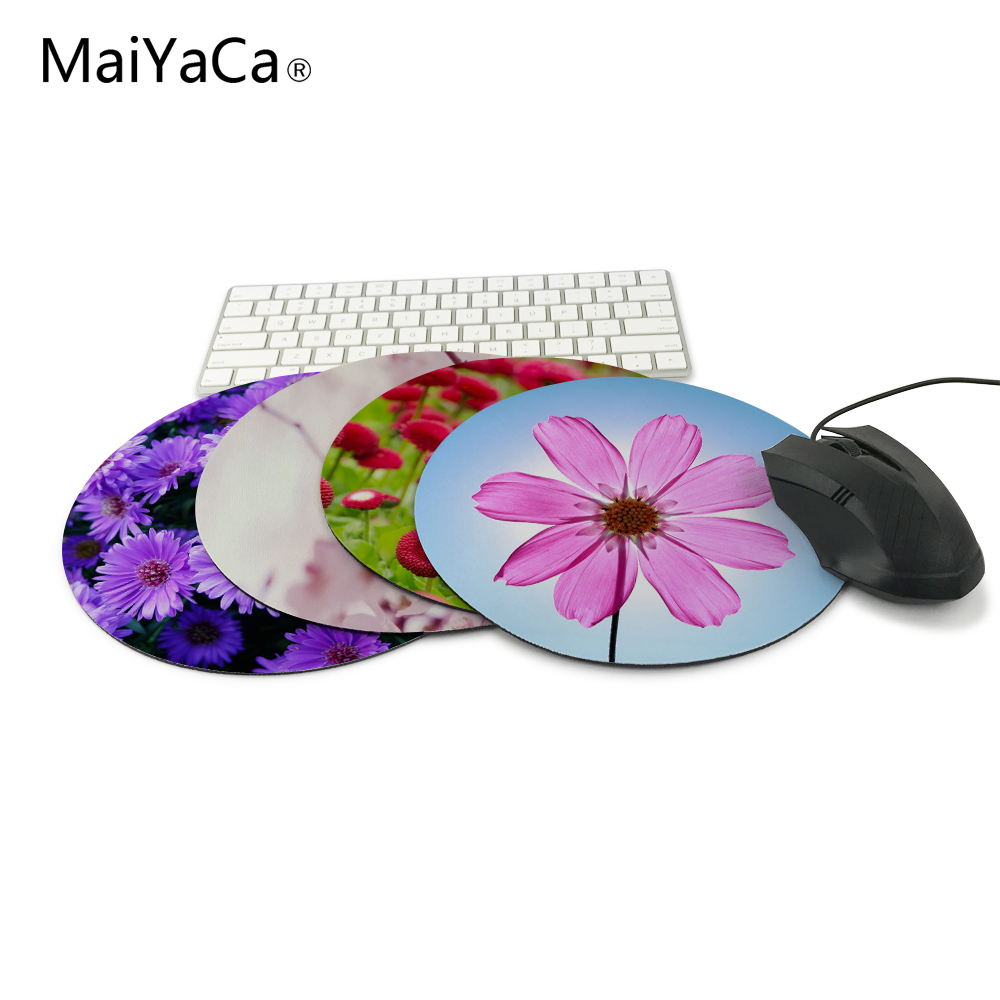 Best Desktop Beautiful flowers Hds Gaming Round Silicon TPU Durable Mouse Pad 200*200*2mm ...