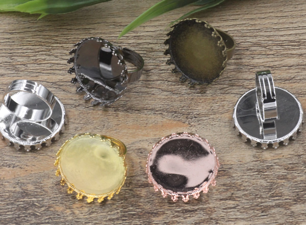 50pcs Cabochon 25mm Crown pad ring blank with Cameo Tray Antique Bronze Gold Silver Ring setting