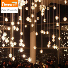 Km Odern Chandelier Lights Fixtures Magic Ball Lustres Loft Stairwell Crystal Light Meteor Shower Crystal Lamp(China)