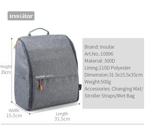 Image 3 - INSULAR แฟชั่นกระเป๋าผ้าอ้อมกระเป๋าเป้สะพายหลังผ้าอ้อมกระเป๋าแม่กระเป๋าเด็กสำหรับแม่พ่อกับรถเข็นเด็ก/เปลี่ยนแผ่น /กระเป๋าเปียก