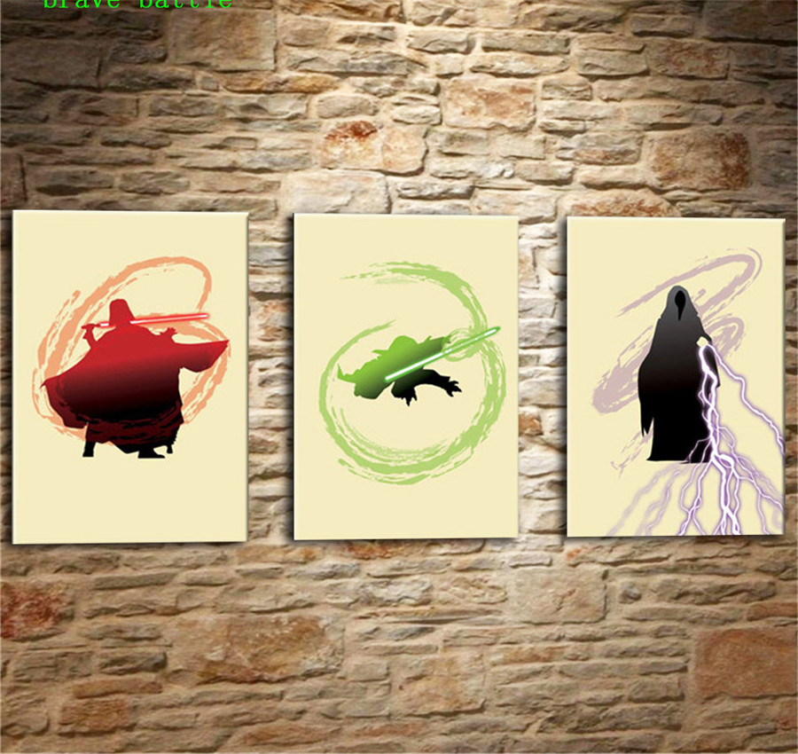 Characters Star Wars 3 Pieces Canvas Painting Print Living Room Home Decor Modern Wall Art Oil Painting Poster