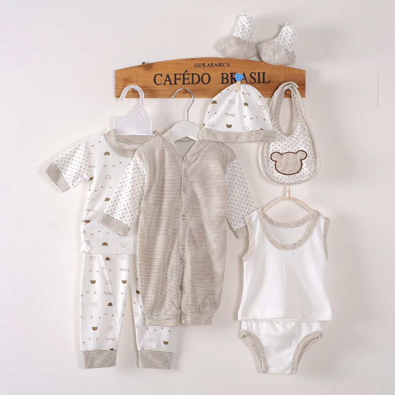 Newborn Baby Clothing 8pcs Set Boys Girls Cotton Polka Dot Clothes For 0-3M 4 Colors cotton baby rompers set newborn clothes baby clothing boys girls cartoon jumpsuits long sleeve overalls coveralls autumn winter