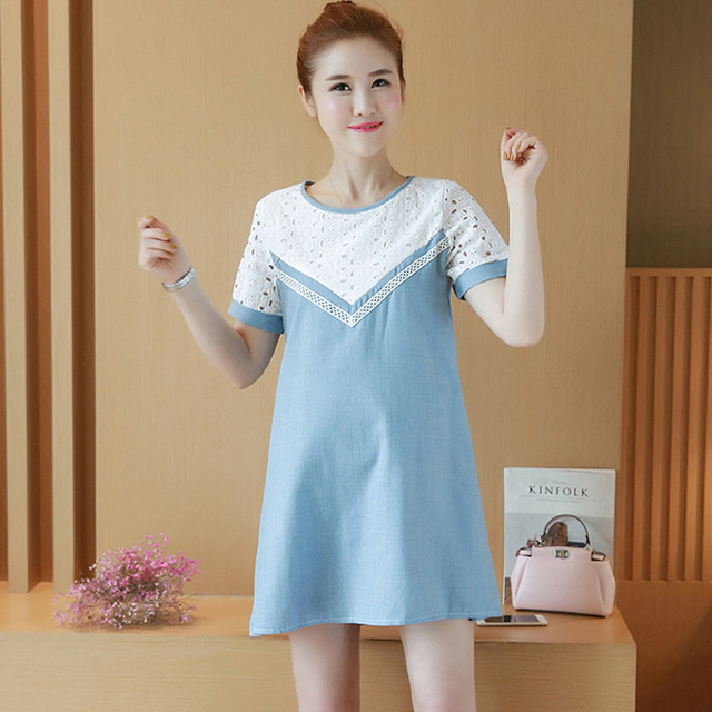 Smmoloa Summer Maternity Clothes Tfeeding Home Wear Short Sleeve Pregnant Women Nursing House Dress