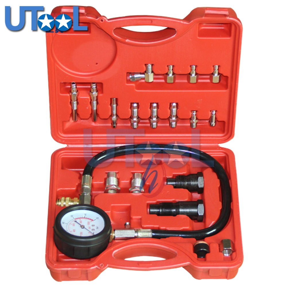 TU-15A Diesel Engine Compression Tester Tool Kit Cylinder Pressure Gauge 0~1000PSI