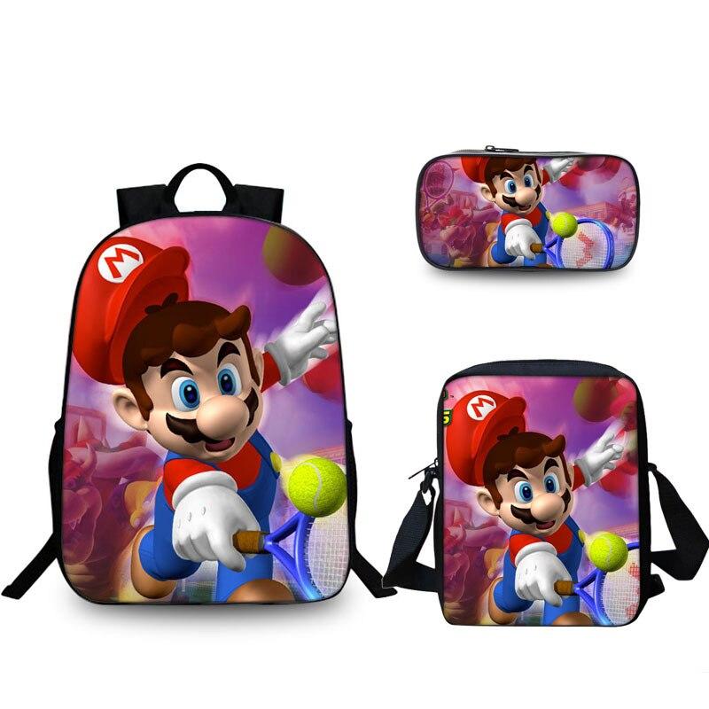 3 pc/ensemble Mode Sac D'école Pour Garçons Filles de Bande Dessinée Super Mario Bros Sonic Impression Sac D'école Les Enfants Cartable D'épaule Occasionnel sac