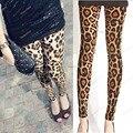 Панк готик-рок мода летней девушки коричневый леопарда печатных встроенная тонкий леггинсы брюки