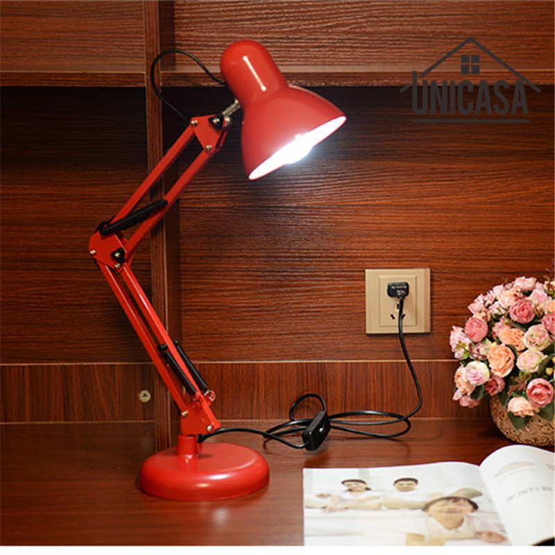Red Desk Lamps Adjustable Clip Table Lights Bedside Desktop LED Table Lamp Bedroom Office Light Libraly Shop Industrial Lighting modern industrial style table lamps lights for bedroom bedside folding desk lamp clip dimmer led light clamp lampshade abajur