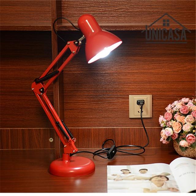 US $43.71 |Red Desk Lamps Adjustable Clip Table Lights Bedside Desktop LED  Table Lamp Bedroom Office Light Libraly Shop Industrial Lighting-in Desk ...