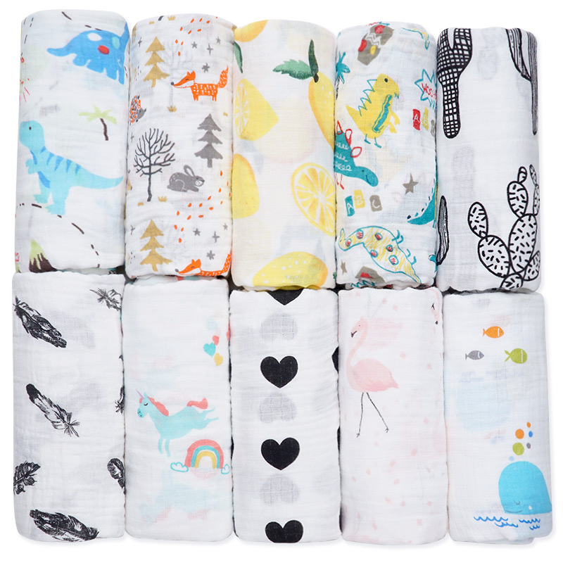 Big 120*120CM Cotton Muslin Swaddle Baby Blankets Newborn Soft Gauze Diapers Baby Bath Towel Multifunction Baby Wrap Baby Stuff