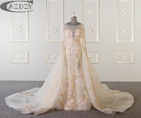 CAZDZY 2018 New Mermaid Wedding Dress Bridal Gowns Dresses Full Sleeve Detachable Train with luxury beading