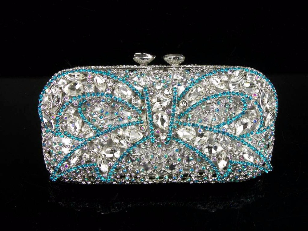 ФОТО 1512 Crystal Bow Silver Lady fashion Bridal Party Night hollow Metal Evening purse clutch bag handbag