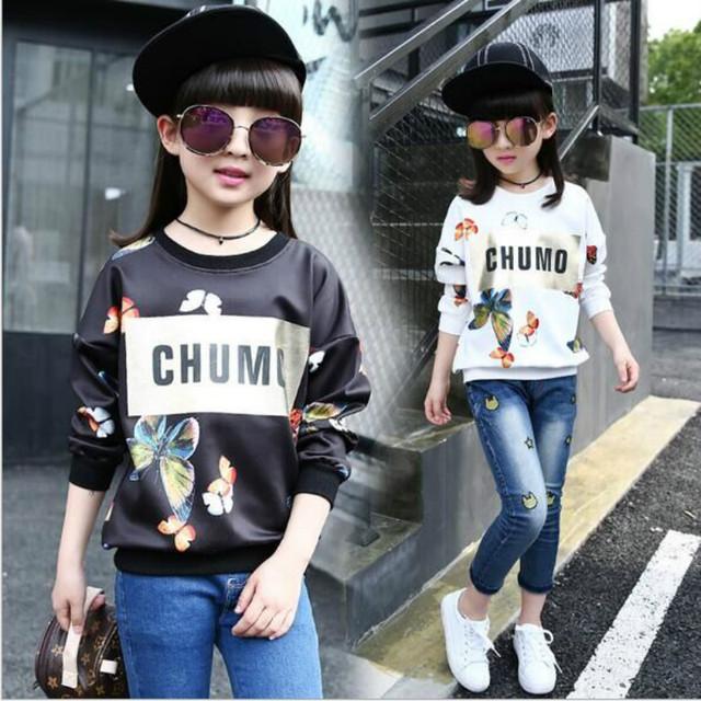 2017 nueva llegada de la moda otoño impreso Mariposa chica de algodón de manga larga sudaderas niños tops