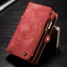 Luksusowy portfel ze skóry naturalnej etui na iPhone 7 Folio odpinany suwak pokrywa magnetyczna etui na iphonea 7Plus 6splus 6 6S