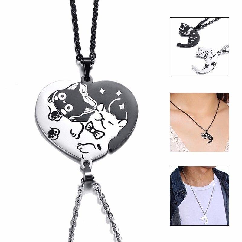 2 Teile/satz Nette Katze Hund Form Herz Puzzle Paare Halsketten für Frauen Männer Edelstahl Anhänger Liebhaber Versprechen Andenken Geschenke