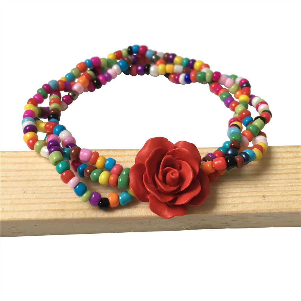 New Pattern Handmade Bohemia Style Colorful Tiny Beaded Bracelets Multi-layer Braided Resin Rose Flower Charm Bracelet For Women