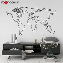 цена на World Map Globe Outline Vinyl Wall Sticker Home Decor Living Room Removable Mural Bedroom Office Decals Large Wallpaper 3215