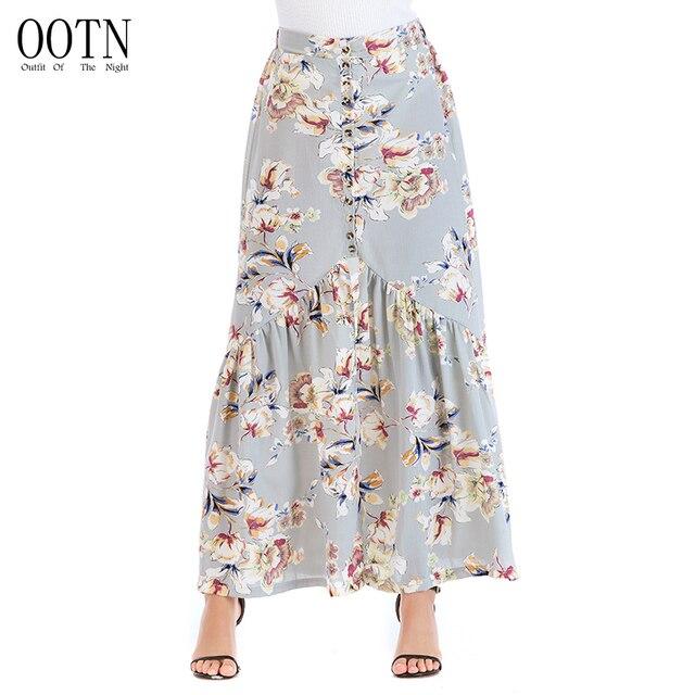c287a5b494 OOTN gris blanco amarillo impresión Floral Mujer falda alta cintura Falda  larga elegante Casual gasa falda