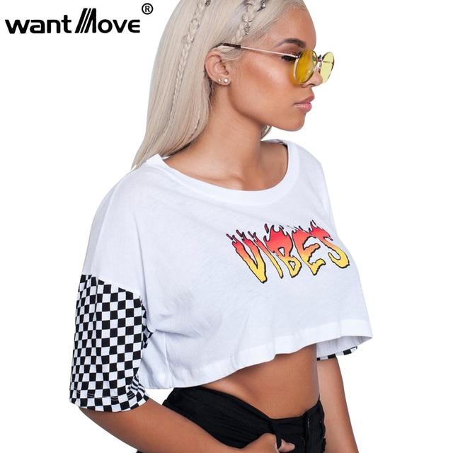 704c9927e542 Wantmove sexy white and checkered patchwork t shirt print vibes 2018 summer  short shirts women half