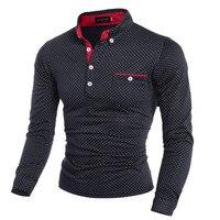 2017 New Mens Dot Long Sleeve POLO Shirts Stand Collar Male Polo Shirt