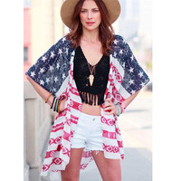 2017 New Design Women Independence Day American Flag Print Blouse Loose Chiffon Shoet Sleeve Cardigan Tops