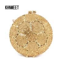 Nowy Projektant Okrągłości Kryształ Wieczór Clutch Bag Złoty Brokat Torebki Torby Panie Diamante Kryształ Inkrustowane Pochette SC499
