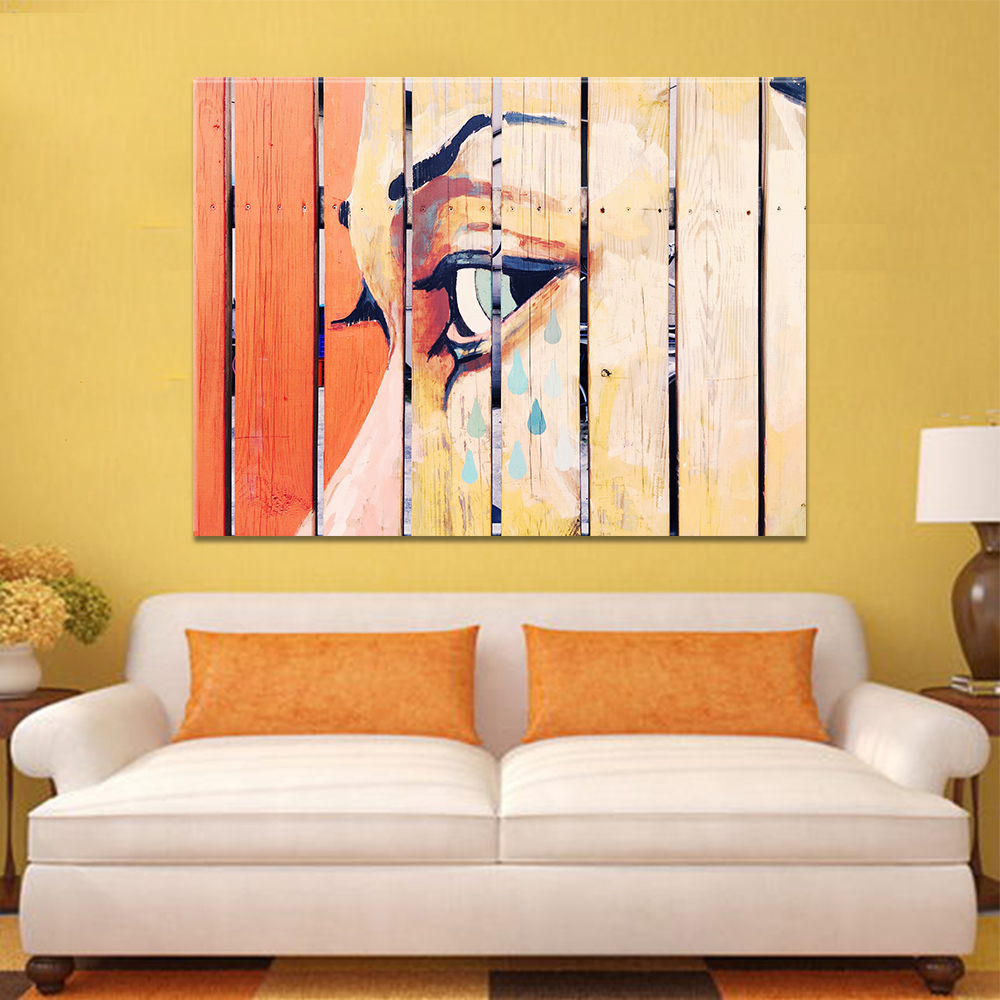 Unframed Canvas Painting Fence Tearful Woman Graffito Print Painting Posters Wall Picture For Living Room Home Decor