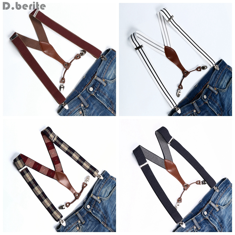 Men Clip Suspenders Unisex Elastic Wedding Braces Striped & Plaid Belt Strap 3.5cm Width Adjustable Braces For Adult BD627-BD640