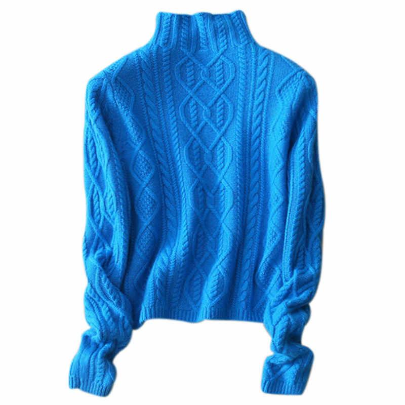 2019 겨울 스웨터 여성 높은 칼라 캐시미어 스웨터 여성 터틀넥 두꺼운 스웨터 트위스트 패턴 bottoming 따뜻한 풀오버