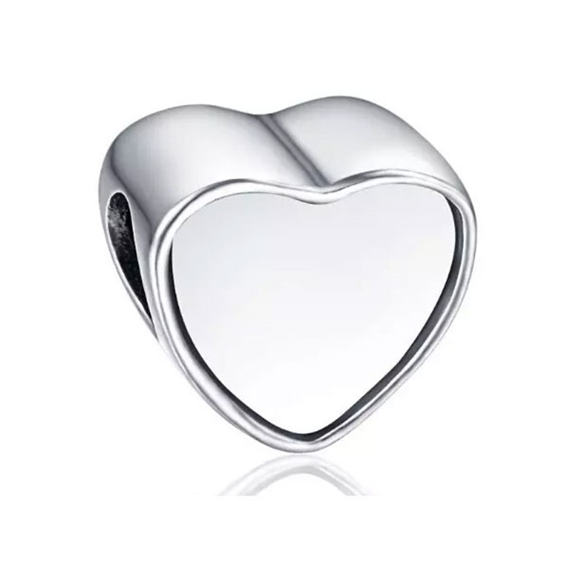 sublimation blank heart charms photo bead metal charm for valentine's Day gift hot transfer printing consumables 10pieces/lot