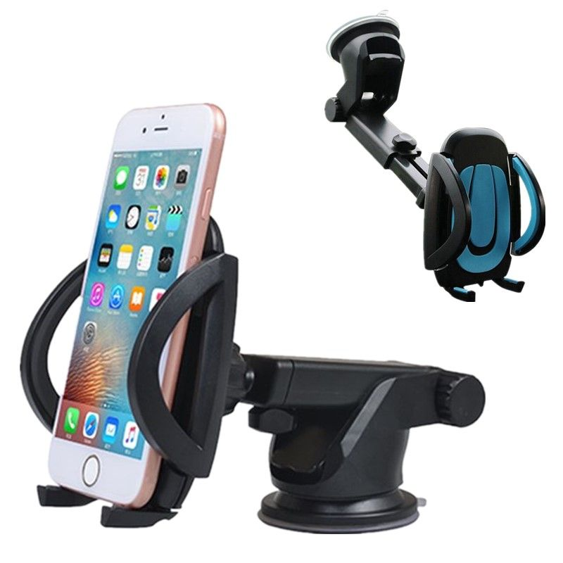 For Iphone X Xs Xr 8 Plus Universal 2In1 Retractable Windshield Dashboard Car Phone Stand Holder 360 Rotating Suction Cup Mount