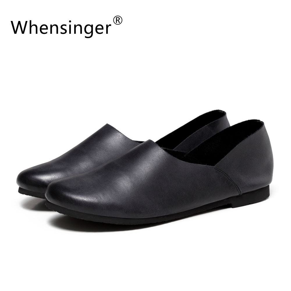 ФОТО Whensinger - 2017 New Arrival Spring Genuine Leather Flats Woman Fashion Shoes Round Toe 2 Colors Rubber Sole F010