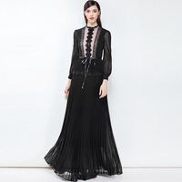 2018 Spring Summer Dress Women S Dresses Lace New Solid Color Pleated Dress Super Long Dresses